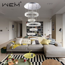 Modern LED Pendant Light Crystal With Stainless Steel Round Circle Ceiling Chandelier single pendant crystal modern