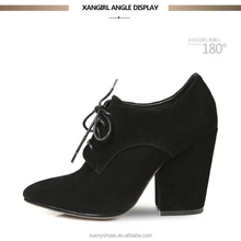 Classic design suede block heel black leather shoes