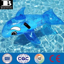 Transparent Dolphin Ride on inflatable Pool Toys for kids plastic sea animals pool rider water beach toys for pool