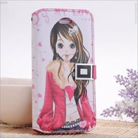 Fashionable Beautiful girl painting skin with card slot wallet leather case for Apple iPhone 5 P-IPH5CASE049