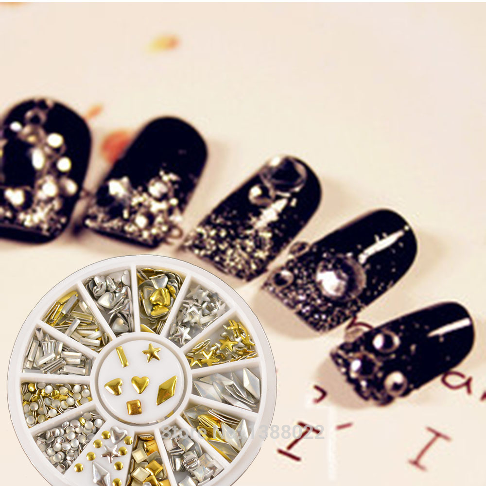 FashionMetallic Gold Silver Decor Rhinestones Nail Art Metal Studs