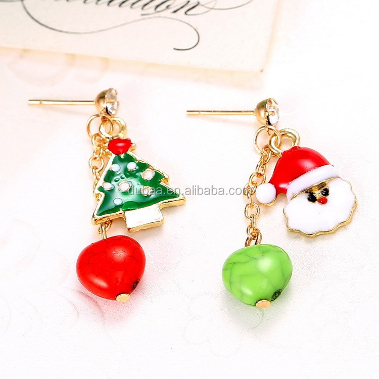 Christmas Holiday Santa Claus Xmas Tree Stud Post Clip on Earrings New