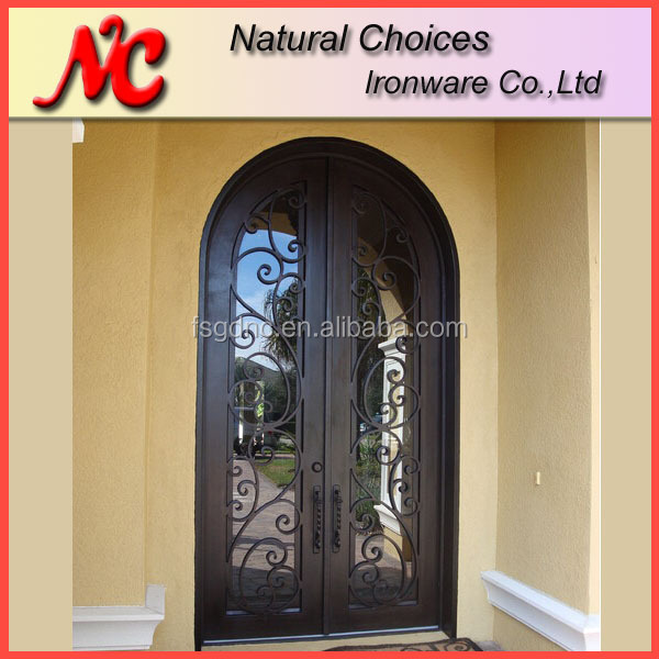 Entrance wrought iron doors price with glass