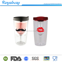 Wholesale 10oz vino2go the plastic wine sippy cup with tight-fitting lid for preventing spill