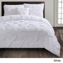 Pinch Pleat Comforter Set White Colour Cotton Comforter Bedding Set