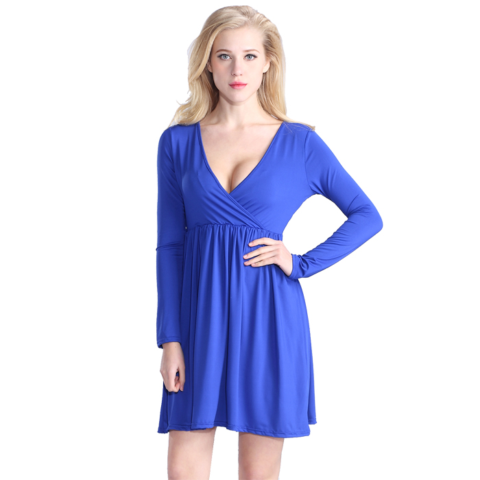Wholesales clothes smart elegant dress V neck long sleeve blue casual dress