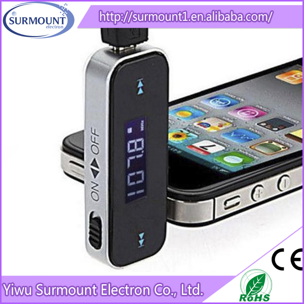 rechargeable mini design fm car transmitter 3.5mm jack wireless car transmitter fm with full frequency range