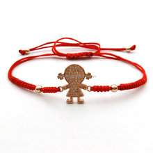 Fashion Girl bracelet braided 4mm beads Chakra Beads Lucky Red rope Adjustable Bracelet Women Micro-zircon pulsera