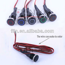 16mm black color Red Green Orange White Blue Ring Illuminated metal LED push button switch with wire
