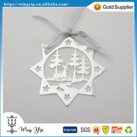 Manufacturer trendy Deer Shape with Ribbon Silver Plated X'mas hanging for Ornament