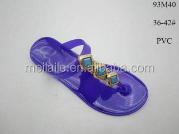 Top sale women's pvc jelly sandals shoe thong toe thin outsole