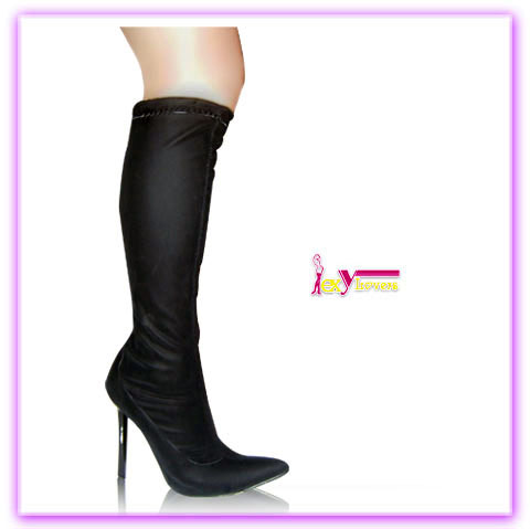 High heel women boots black pure color knee height stiletto boot with pointed toe