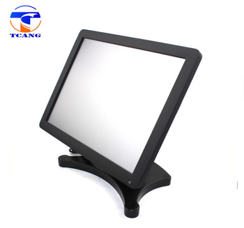 Factory 15 inch POS LCD Touch Screen Monitor with Metal Stand and Integrated USB Card Reader MSR Touch Monitor