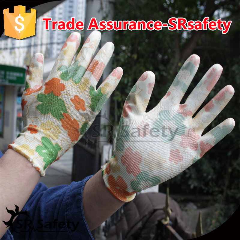 SRSAFETY 13 knitted thin PU on palm safety working gloves, flower print beautifui gloves