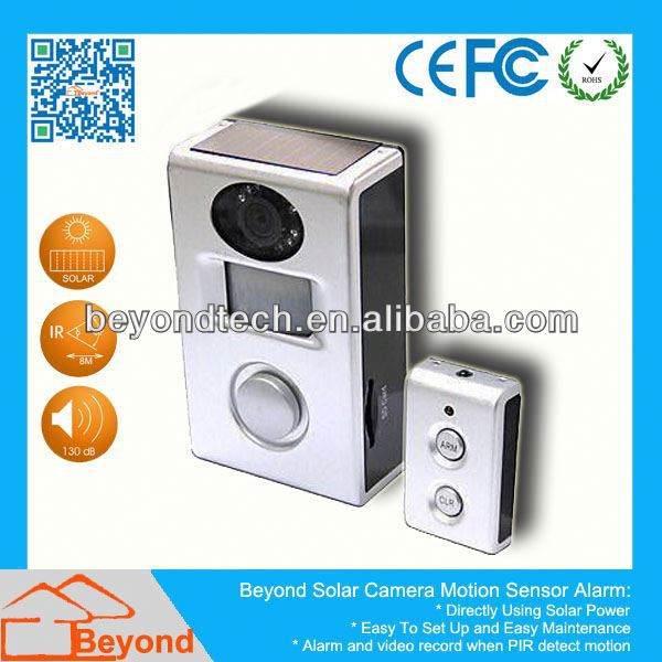 Computer Dvr Sensor Solar Camera Alarm With Video Record and Solar Panel