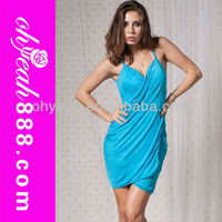 Wholesale full colors open back wrap front sexy beach dress
