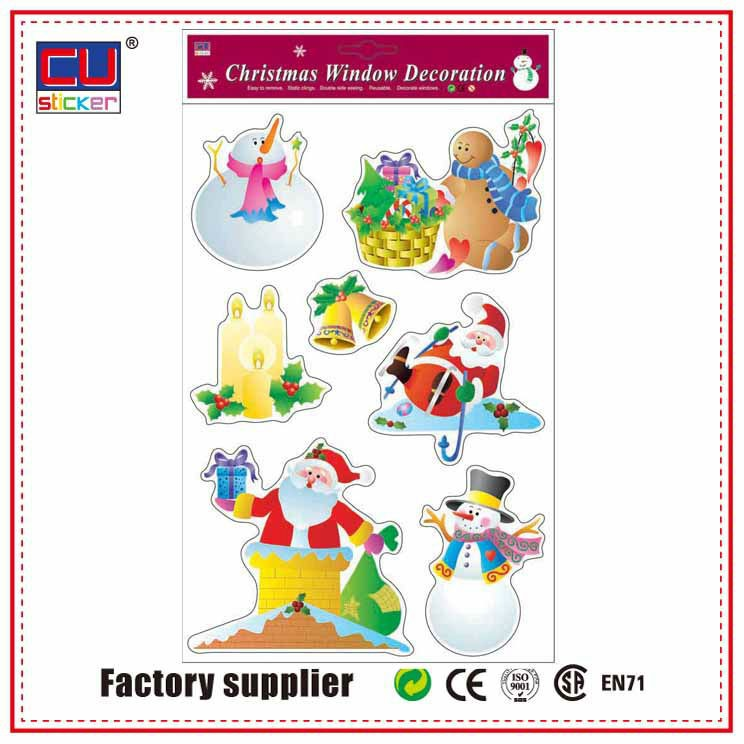 Custom High Quality Hot Sale Self Adhesive Christmas PVC Window Decal Sticker