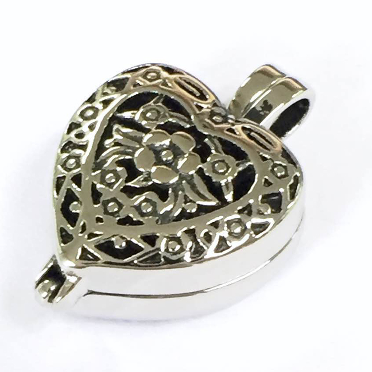 Wholesale heart shape necklace metal funeral pet urn for ashes