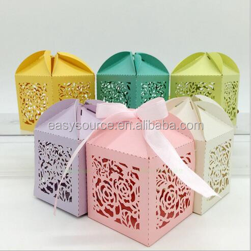 High quality cheap bride and groom Laser Cut Lace Wedding Candy Box candy gift box with ribbon XK120