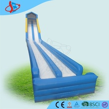 GMIF Blue Water Slides Long Lane Inflatable Splash Slip N Slide With Climbing