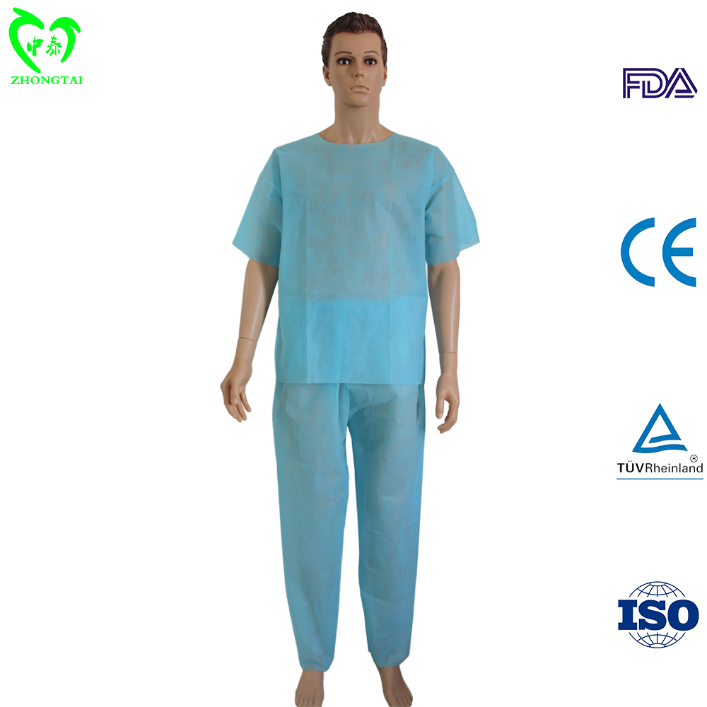 Surgical Patient Suit Disposable PP Non Woven Scrub Suit for Patients