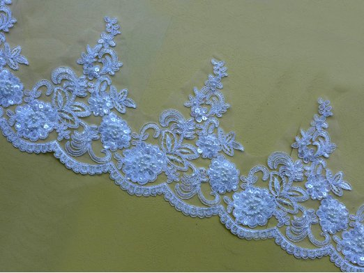 Lace type product ivory pearl beaded corded crystal indian lace trim