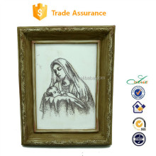 2015 charcoal drawing for Mary and holy baby religious wall plaque frame