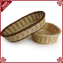 S&D Food Grade Chrome rattan oval wicker Storage Basket cheap colored plastic heated bread basket