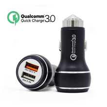 2017 OEM colorful dual usb port fast QC 3.0 car charger for mobile phone
