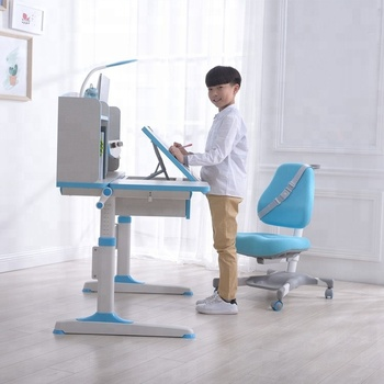 2018 The hot sales ergomics Adjustable kids table desk chair in Pink Blue Color