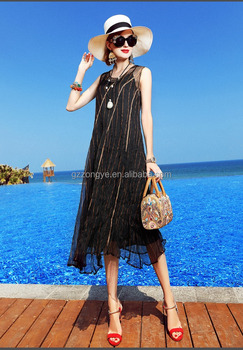 2017 new design real silk sleeveless round neck beach vacation long dress