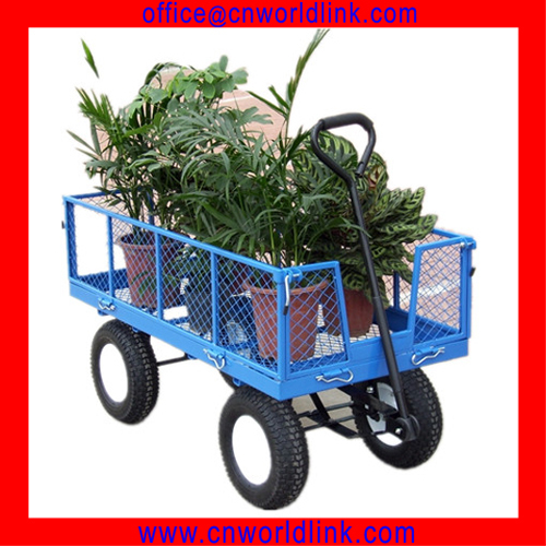 Heavy Duty Removable Steel Mesh Sides Flatbed Garden Cart