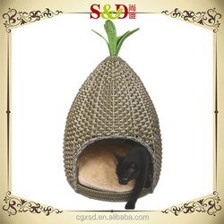 S.D luxury eco-friendly handmade rattan outdoor cat house pet beds