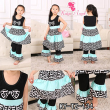 Newborn Baby Kid Girl Sleeveless cotton Tops Skirt +Long Pants 2PCS Outfit Set Clothes