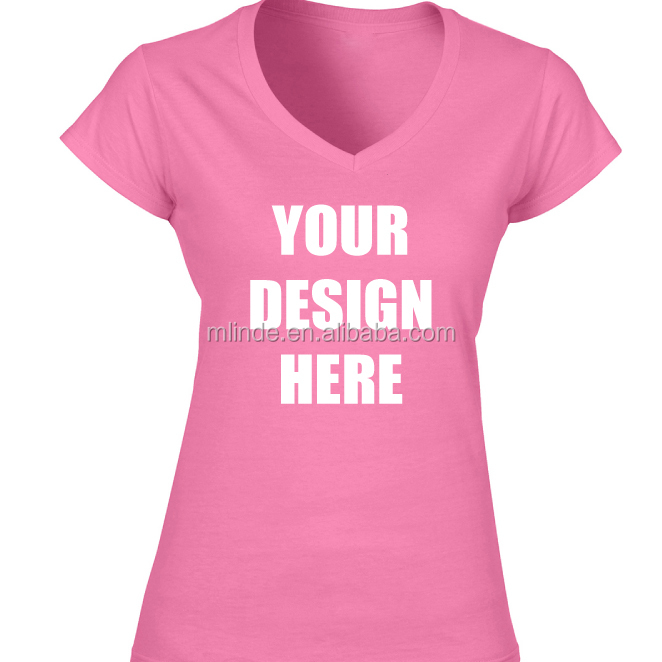 Pink Design tshirts for Ladies Softstyle Fashion Women's V-Neck Plain Dyes Cotton Spandex Short Sleeve V-neck Clothes Tee Tops