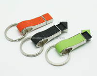 promotional gift 8gb leather usb stick with key chain