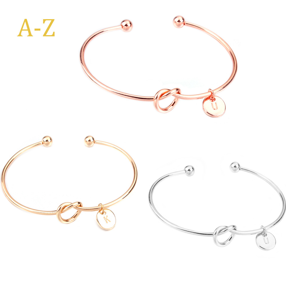 Popular best friend gift alphabet A to Z Heart love knot bangle rhodium Rose Gold plated initial letter Cuff bracelet