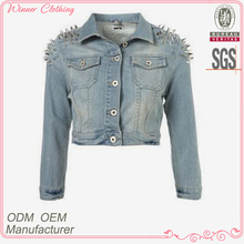 light blue denim/jeans short blazer for women with rivet shoulder