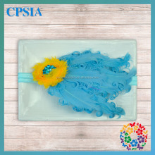 Posh Little Girls Toddlers Popular Aqua Blue Feather Elastic Hair Band Decorated with Yellow Flower Child Baby Hairwear