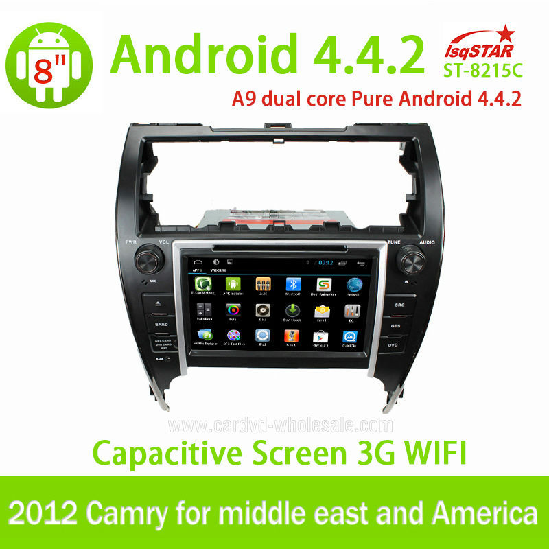 Wholesale with Mirror link OBD 3G Wifi for 2012 Camry middle east and America pure Android 4.4.2 Car Radio with Gps navigation