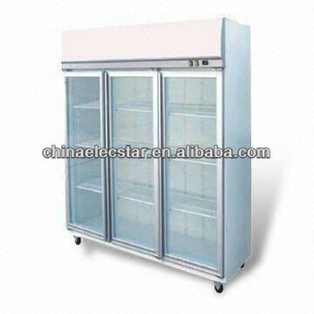 Three Door Display Fridge and Freezer with Top Mounted Fully Removable Refrigeration Deck
