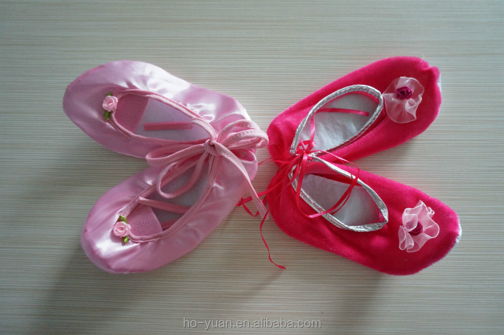 Colorful new design flat satin ballet dance shoes girls ballet slipper