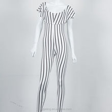 ladies sexy tight pants white black stripe cotton one piece jumpsuit