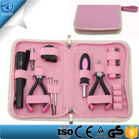 Promotion 23 Piece Home Pink Tool Kit With Ledlight ,Measuring Tape ,sockets Great Gifts For Ladies
