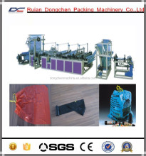 Ribbon - through continous rolled automatic biodegradable plastic bag making machine