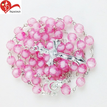 China custom religious decor cheap pink plastic rosary beads chain link necklace