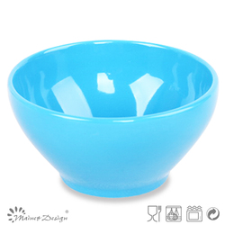 Solid glazed korean style ceramic bowl light blue color stoneware rice cereal bowl
