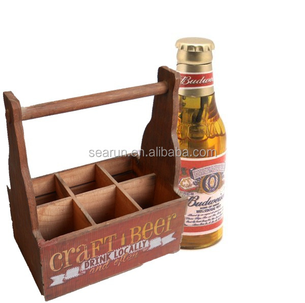 Wholesale Wooden Beer Bucket, Cheap Wood 6 Pack Beer Bottle Carrier, Wine Bucket Packaging Box