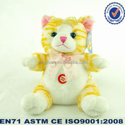 cute Plush yellow cat with bow for children
