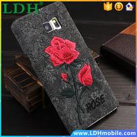 For Samsung Galaxy Note5 N9200 Capa Elegant Embroidery Rose Flower Case For Galaxy Note 5 Slim Leather Handmade Back Phone Cover
